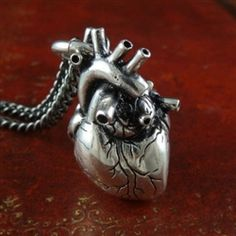 "Anatomical Heart Necklace  	    Anatomical Heart.     Beautifully weighted, the heart looks great from every angle, and hangs off a jump-ring which is itself looped through one of the heart's arteries. Any more real, this thing would be pumpin'.    The heart is 25mm long (not including the jump ring) and about 14mm at its widest point.    Hung on a 24"" gunmetal black chain."