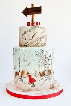 GORGEOUS hand-painted little red ridding hood cake