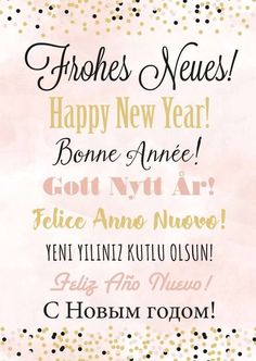 Frohes Neues Happy New Year Bonne Annee