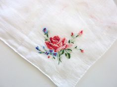 5 Vintage Women Handkerchief - Cotton with Floral Embroidery - Assorted Colors