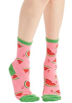 These Fruits are Made for Walkin' Socks in Melon - Pink, Multi, Fruits, Food, Novelty Print, Variation