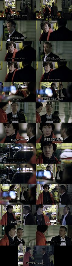I love this scene. Sherlock is so quick to show how clever he is that he almost throws John under the bus.