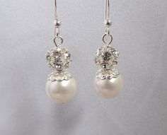 Touch of Bling Bridal Earrings with Swarovski Pearls by Saralibbey, $15.00