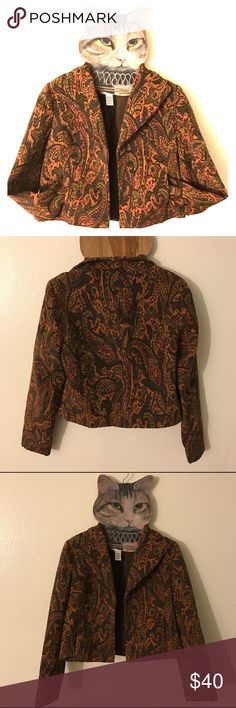 Earth Tone Paisley Cropped Blazer Vest Jacket Coat Doncaster's Earth Tone Paisley Slightly Cropped Blazer Vest Jacket Coat. EUC. No Flaw. #paisley #retro #vintage #crop #fall #winter Doncaster Jackets & Coats Blazers