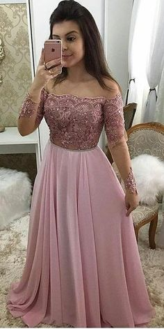 Off Shoulder Full Sleeves Long Prom Dress 2019 Custom Made Beaded Pink Evening Party Dress Fashion Appliques School Dance Dress Pageant Dress for Girls Fancy Prom Dresses, Girls Pageant Dresses, Prom Dresses Long With Sleeves, A Line Prom Dresses, Party Wear Dresses, Split Prom Dresses, Beaded Prom Dress, Formal Evening Dresses, Long Gown Dress
