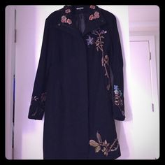 XOXO Floral Jacket XOXO floral knee length jacket. Beautiful embroidered flowers. Good condition no rips or tears. Mild pilling from scarfs. XOXO Jackets & Coats Pea Coats