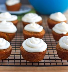 Carrot Cake Cupcakes with Cream Cheese Frosting. I make the 9 x 13 cake version for my husband and he loves it! I made it most recently and added chopped walnuts and dried apricots. It was amazing and got rave reviews!!