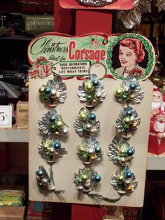 vintage Christmas corsage - I still have one similar to these that was my mother's.I use it as an ornament on my tree.