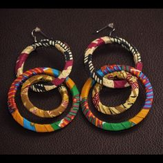 Earrings quellyruedesigns.etsy.com ~African fashion, Ankara, kitenge, African women dresses, African prints, Braids, Nigerian wedding, Ghanaian fashion, African wedding ~DKK