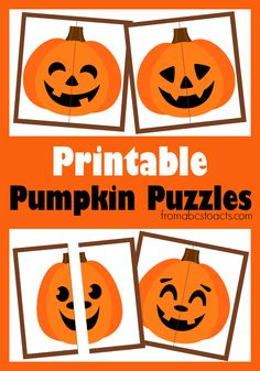 Halloween Activities for Preschoolers: Printable Pumpkin Puzzles - From ABCs to ACTs Getting ready for Halloween in our house has always involved a lot of pumpkins. Whether they're the printable kind like our pumpkin matching game we made Halloween Puzzles, Halloween Activities For Toddlers, Theme Halloween, Autumn Activities, Halloween Crafts, Halloween Week, Halloween Patterns, Halloween Music, Halloween Printable