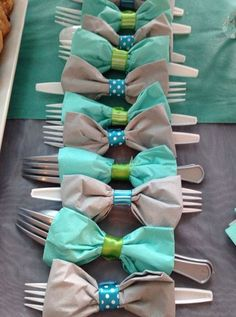 Bow Tie Napkins with Utensils   Click Pic for 30 DIY Baby Shower Ideas for Boys   DIY Baby Shower Themes and Ideas for Boys
