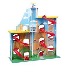 Garaje para coches de #madera de juguete con rampas de caracol #educacion #padres