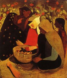 """Resting, Amrita Sher-Gil, c. 1939, oil on canvas """