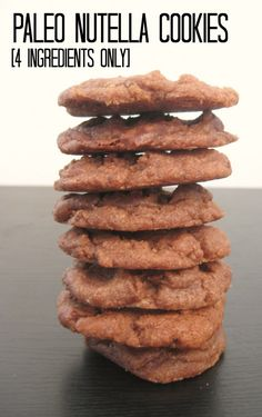 4 Ingredient Paleo Nutella Cookies- Ready in under 10 minutes and naturally Gluten Free, Grain Free and Vegan! Use organic 'Nutella' Nutella Cookies, Paleo Cookies, Chocolate Cookies, Paleo Dessert, Healthy Sweets, Whole Food Recipes, Cooking Recipes, Healthy Recipes, Snack Recipes