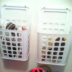 Shoe storage when space is tight.  $1.99 plastic bins from IKEA.