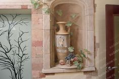 3D custom still life mural hand-painted to look like an arched recess in a wall.  #custommural