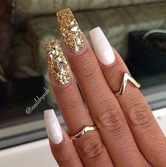 White acrylic nails with glitter, gold sparkle nails, white stiletto nails, white nails Gold Sparkle Nails, Fancy Nails, Glitter Nails, Glitter Tattoos, Gold Glitter, Sexy Nails, Hot Nails, Hair And Nails, Fabulous Nails