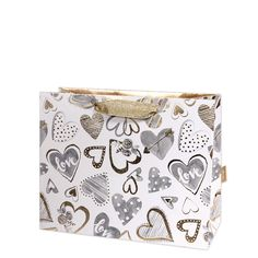 With love medium gift bagMedium Gift bag Size: 200 x 250mm x 100mm when open Double gold handles Manufactured by Deva Designs LtdCards and Gift Wrap