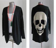 Cardigans & Strickjacken - STRICKMANTEL LONG CARDIGAN MIT SKULL TOTENKOPF - ein Designerstück von secret-of-style bei DaWanda