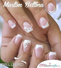 Simple Florals - Decorating Your French Manicure 10 Simple Fourth Of July Nails To Keep You Minimalist Pink Ombre Nails, Bridal Nail Art, Pearl Nails, Floral Nail Art, Bride Nails, Wedding Nails Design, Flower Nails, Perfect Nails, French Nails