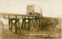Postcard, Real Photo, Albion, Michigan, M. U. R. Bridge, Blair photo