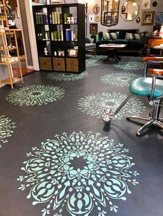 We are pleased to introduce this inspired Mandala wall stencil to adorn your walls, furniture, and floors. Reusable and inexpensive Mandala Stencil! Stenciled Concrete Floor, Painted Concrete Floors, Painting Concrete, Stained Concrete, Plywood Floors, Concrete Patio, Concrete Lamp, Concrete Countertops, Laminate Flooring