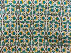 Green Floral Print Fabric Cotton Fabric Printed by PaislyPrint