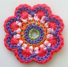 Crochet Flower, love this colors¡