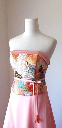 Wedding dress vintage KIMONO top GEISHA pink gold brocade crane flower embroidery OBI bow string spring flower belt A line made to order on Etsy, 729,66 € Shantique