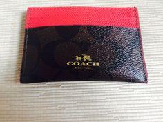 COACH Signature Card Case/Holder Brown Red NWT Retail: $65 #Coach
