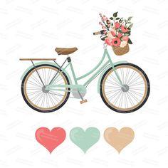 Premium Wedding Clipart & Vectors Mint and Coral por AmandaIlkov