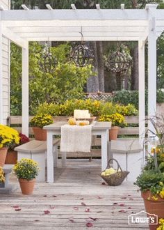 Delight in your deck throughout the fall. The sun may set earlier, but patio season doesn't have to end when daylight is dwindling. Brighten a cozy gathering spot beneath a pergola with glowing DIY globe lights.