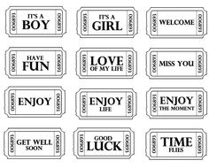 stempels - 102955649931218934162 - Picasa Webalbums Printable Tickets, Free Printables, Word Collage, Baby Journal, Well And Good, Get Well, Journal Cards, Digital Stamps, Baby Cards