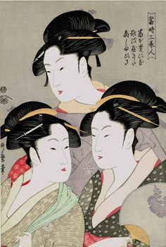 "Japanese Ukiyoe Woodblock print antique Kitagawa Utamaro ""Three Beauties of the Present Day (Tôji san bijin)"""
