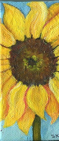 Sunflower on Stalk. Canvas with Easel Original  by SharonFosterArt, $20.00