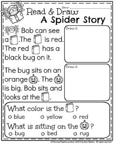 October Kindergarten Worksheets - Reading Comprehension.
