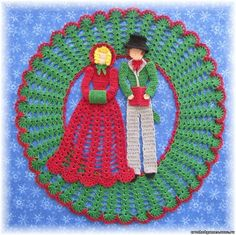crochet couple wreath inspiration only, no pattern.