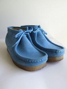Clarks Originals Wallabee Mens Blue Suede Lace Up Moccasins Boots Shoes 10  M  ClarksOriginals   c7c594ce65