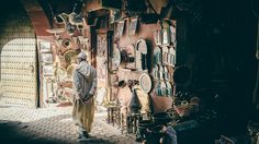 Man walks in a Marrakech Souk