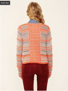 I love the nude & coral color combo here, and the tiny yarn-over patterns. Long ago I screencapped this from Gilt, and I'm guessing it was a Free People sweater that sadly sold out on me :(