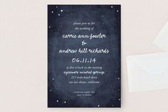 """""""Constellations"""" - Rustic, Hand Drawn Wedding Invitations in Deep blue by SimpleTe Design."""