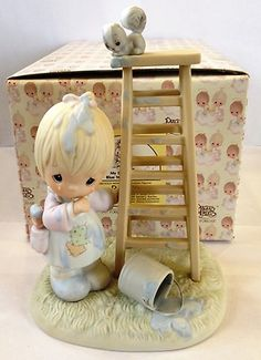 """Precious Moments Figurine 520802 """"My Days Are Blue Without You """" Bow Arrow   eBay"""
