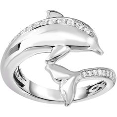 1/4 ct. tw. Diamond Dolphin Fashion Ring in Sterling Silver ($351) ❤ liked on Polyvore featuring jewelry, rings, white, sterling silver diamond rings, dolphin jewelry, band rings, white jewelry and band jewelry