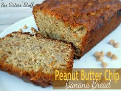 Peanut Butter Chip Banana Bread - Six Sisters Stuff - This is the BEST banana bread. I will never make banana bread again without PB. Baked in 45 minutes. Also bakes well in mini paper loaf pans for minutes. Five stars! Peanut Butter Banana Bread, Peanut Butter Chips, Flan, Delicious Desserts, Yummy Food, Dessert Healthy, Fun Food, Breakfast Recipes, Dessert Recipes