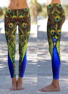 Om Shanti Peacock Yoga Performance Pants at BodyChi on Etsy #leggings #yoga #peacock