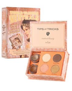 Benefit World Famous Neutrals. 2 cream shadows and four full sized eye shadows. I've seen alot of mixed reviews for this one, personally I love it. Especially the cream shadows. Perfect for a nude eye look.
