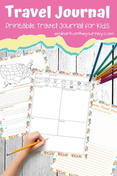 Record Memories in This Printable Kids Travel Journal - Kids will love recording their thoughts and memories in this fun kids travel journal! It'll make a great keepsake for years to come. Summer Activities For Kids, Travel Activities, Road Trip With Kids, Travel With Kids, Homeschool Blogs, Homeschooling, Travel Journal Pages, Preschool Printables, Preschool Worksheets