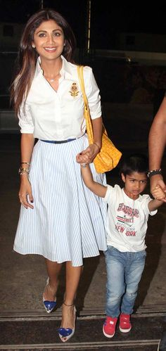 Shilpa Shetty with her son Viaan Raj Kundra in Mumbai. #Bollywood #Fashion #Style #Beauty #Hot #Sexy