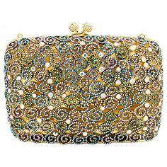 Swarovski Crystal Square Filigree Clutch Bag Ab Multi