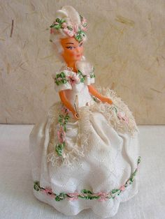 French Marquise costume doll, folk doll, vintage, France, Convert